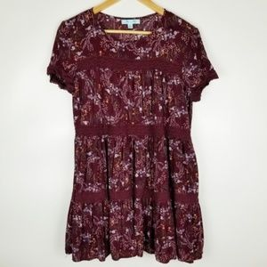 She and Sky Small Maroon Floral Tunic Dress